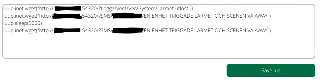 Luup koden som både skickar sms till två olika telefoner.