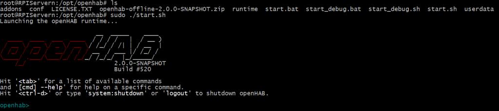 Openhab 2 första uppstarten