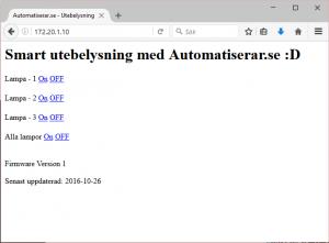 första versionen av webbgränssnittet till arduinon
