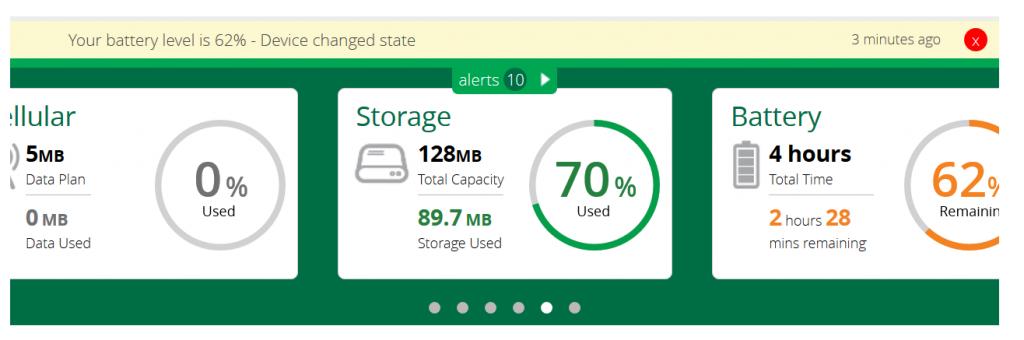 VeraSecure har totalt 128Mb lagring, varav 70% används intialt