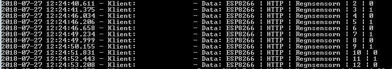 NodeMCU:n skickar nu data konsekvent vid varje tippning.