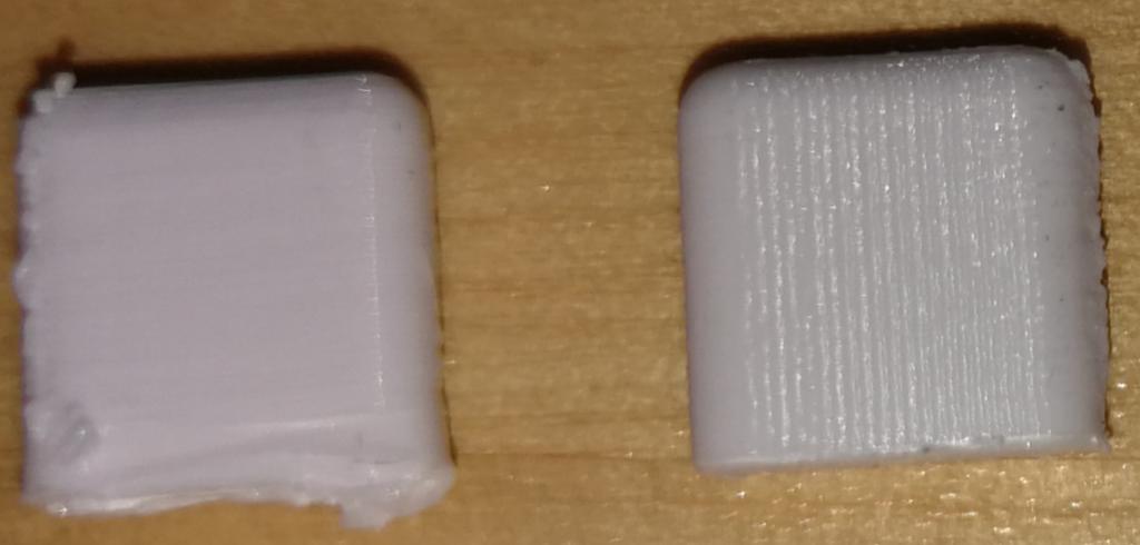 Jag testade nu att skriva ut en del med maximal kvalite på min flashforge finder (till höger)