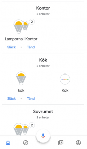Trådfri belysning i Google assistant på mobilen