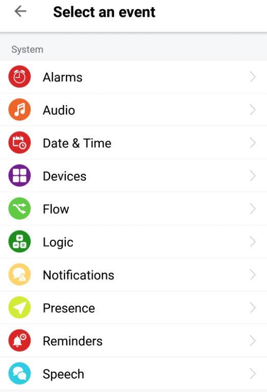 Här kan du välja vilken händelse du vill ha kopplad, en pushnotis eller kanske en text som ska läsas upp?