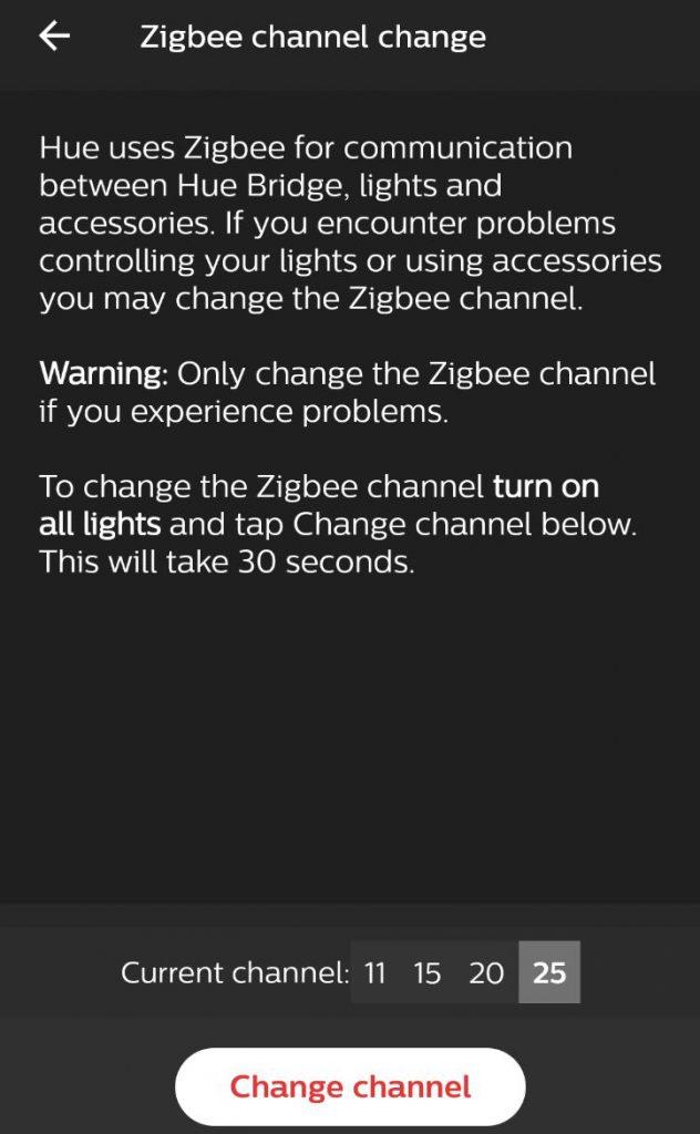 Du kan välja Zigbee kanal på din Philips hue