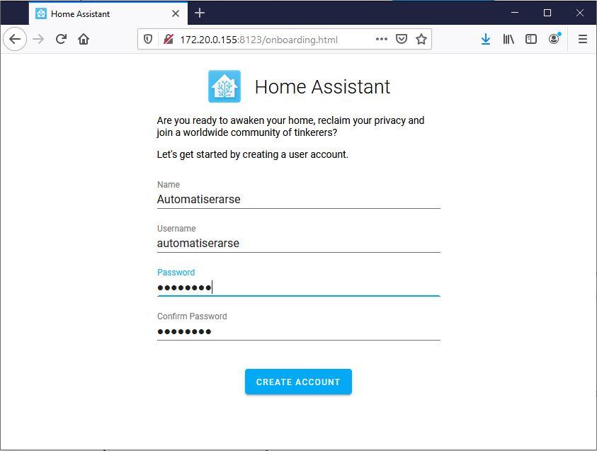 Skapa en användare till Home Assistant