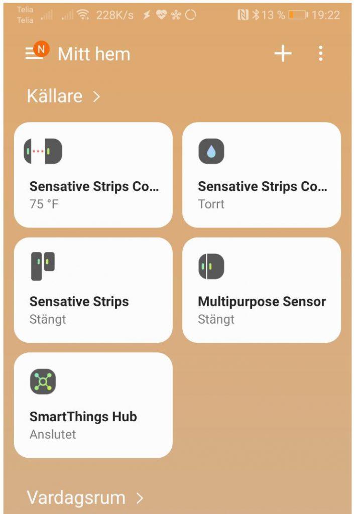 Samsung SmartThings huvudskärm