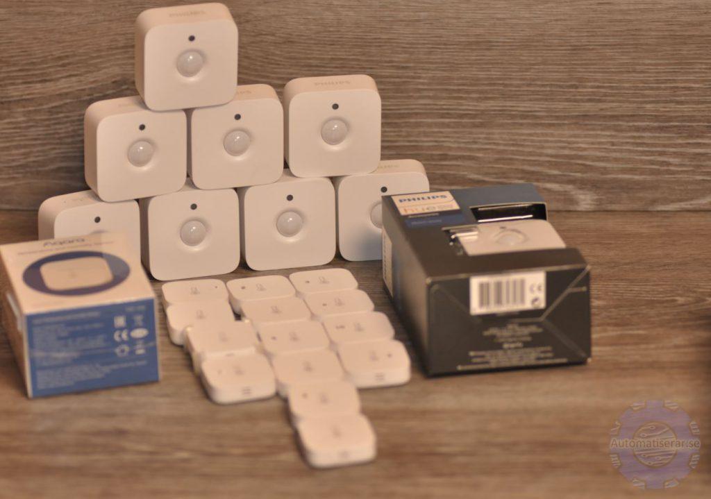 Philips Hue Motion och Xiaomi Aqara temperature sensors
